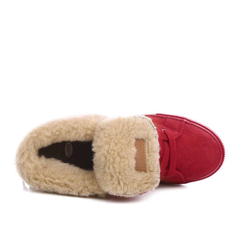Bayanlar Kış Ayakkabı Kadın Botları Kar Sıcak Kış Ayakkabı Botları Botas Lace Up Mujer peluş yarım çizmeler Siyah