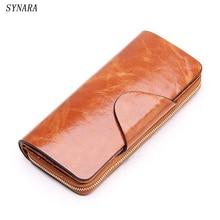 Sıcak satış inek derisi kadın ilk katman cüzdan fermuar hakiki deri uzun tasarım severler erkekler/kadın çanta cep telefonu debriyaj