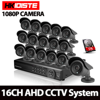 16CH 3000TVL 2 0MP HD Outdoor CCTV Security Camera System 1080P Home Video Surveillance DVR Kit