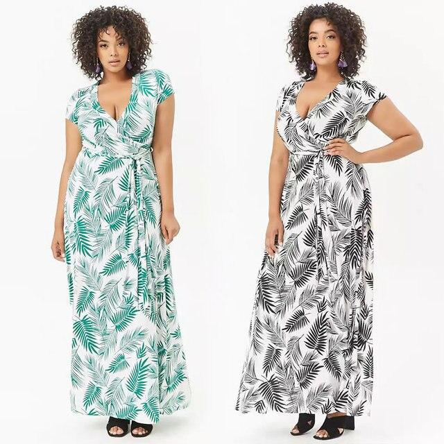 31e11b8cd2d 2018 Summer New Women Fashion Feather Print V Neck Sexy Dress Belt Loose Dresses  Casual OL Elegant Party Vestidos Plus Size 5XL