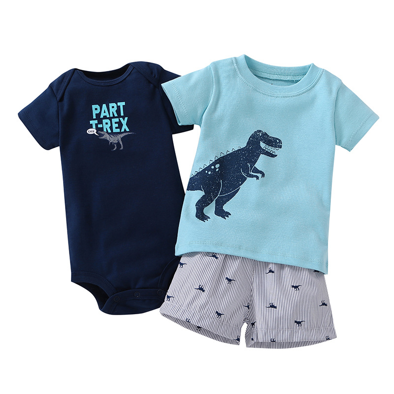 3PCS baby boy short sleeve clothing suit fashion brand cute dinosaur cartoon T-shirt shorts jumpsuit suit 2018 new
