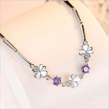 Everoyal New Arrival Women Zircon Purple Clover Bracelets For Girls Jewelry Trendy Silver 925 Lady Accessories Female