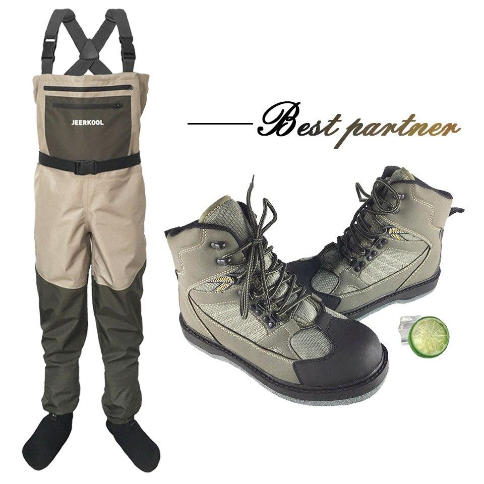 Pêche à la mouche chasse pantalons et chaussures en plein air imperméable et respirant Wader vêtements poitrine salopette avec chaussures de pêche LXM1