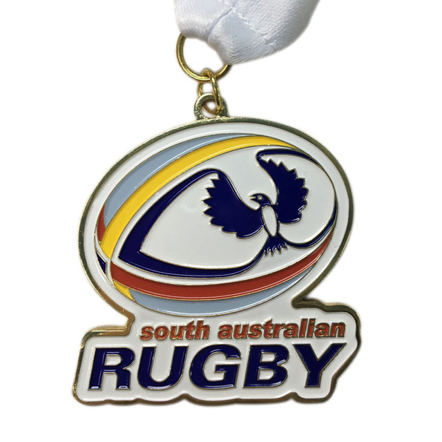 Customized Brass Stamping medals low price custom Soft Enamel Rugby Competition Award Medal with ribbons