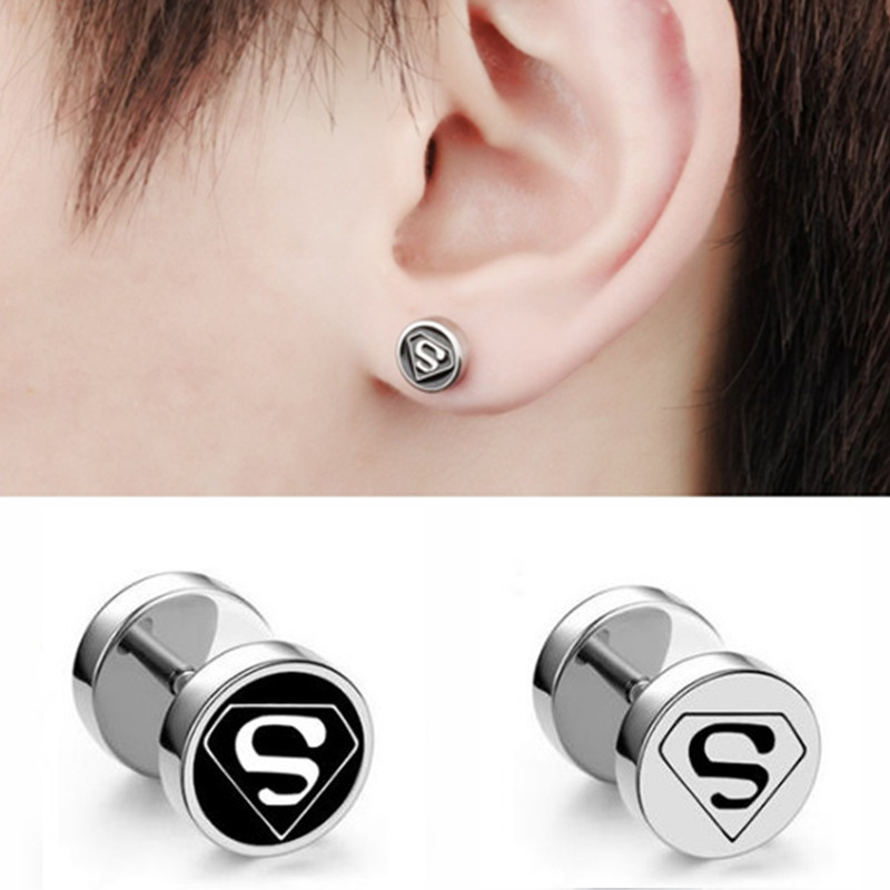 Stainless steel fashion stud earrings with check logo