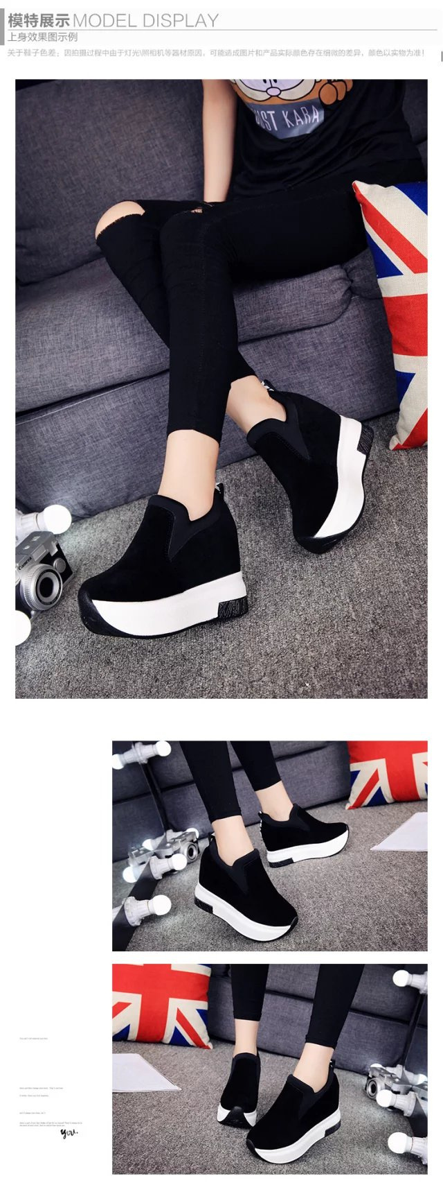 XEK 2018 Women Increased Shoes Women Fashion Platform Loafers Printed Casual Shoes Woman Wedges Shoes Breathable ZLL300 8