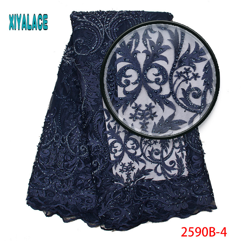 Latest Nigerian Lace Fabric High Quality Beads Navy Blue Tulle Lace Embroidery 3D African French Lace