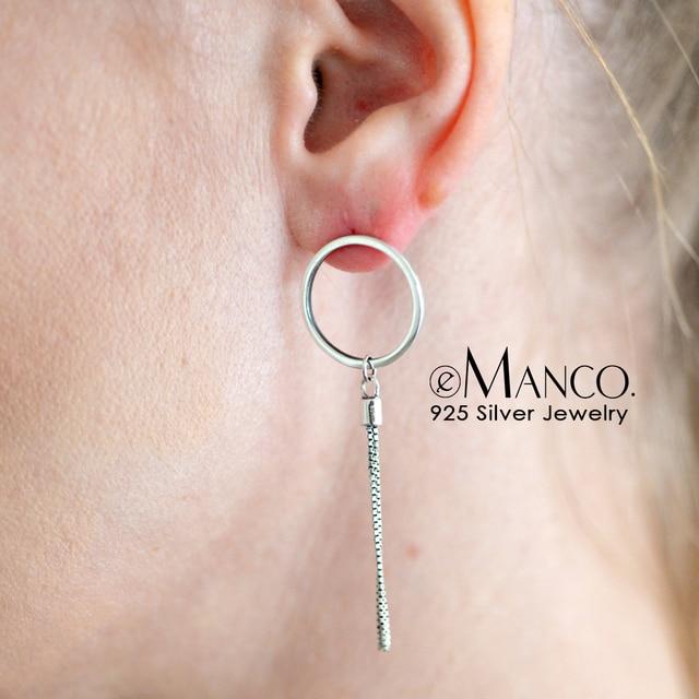 E-Manco 925 pendientes de gota de plata de ley Simple Tassel asimetría círculo redondo colgantes pendientes para mujeres geométricas joyería fina