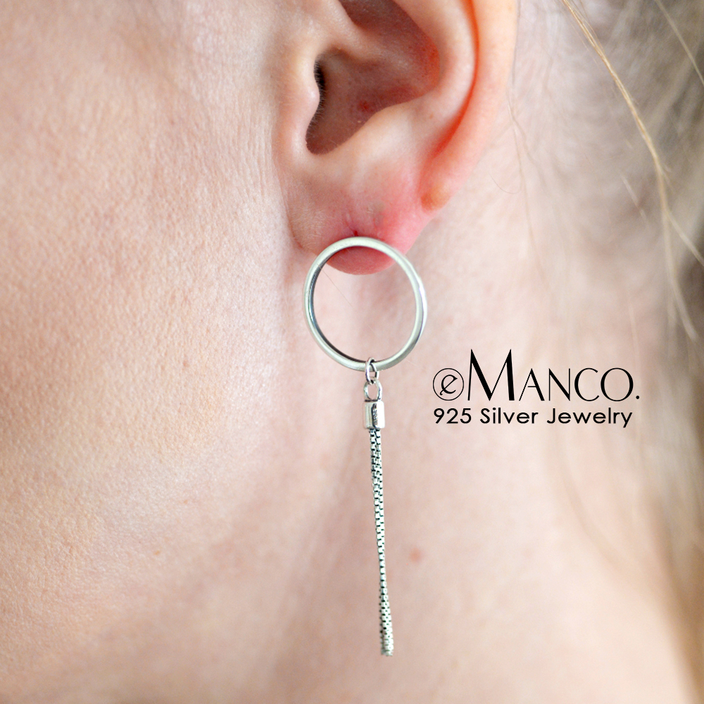 e-Manco 925 Sterling Silver Drop Earrings Simple Tassel Asymmetry Round Circle Dangle Earrings For Women Geometric Fine Jewelry цена 2017