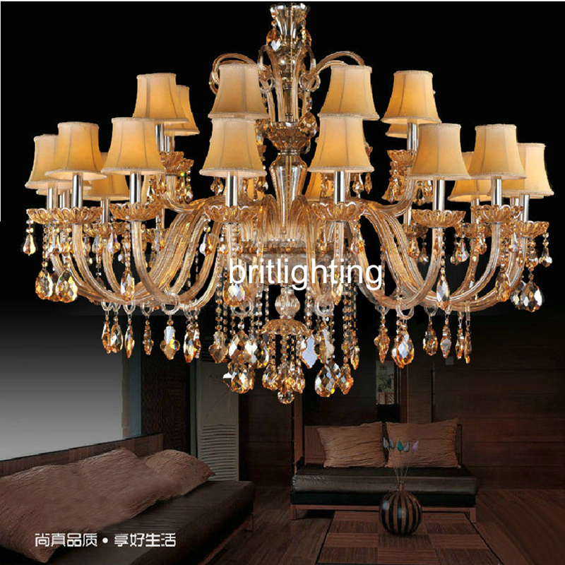 modern art glass chandelier empire crystal chandeliers yellow crystal lighting with fabric lampshade hotel lighting Manufacturer