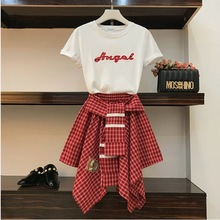 Women Embroidery Letters Tshirts Tee + Pleated Skirt Suits Set