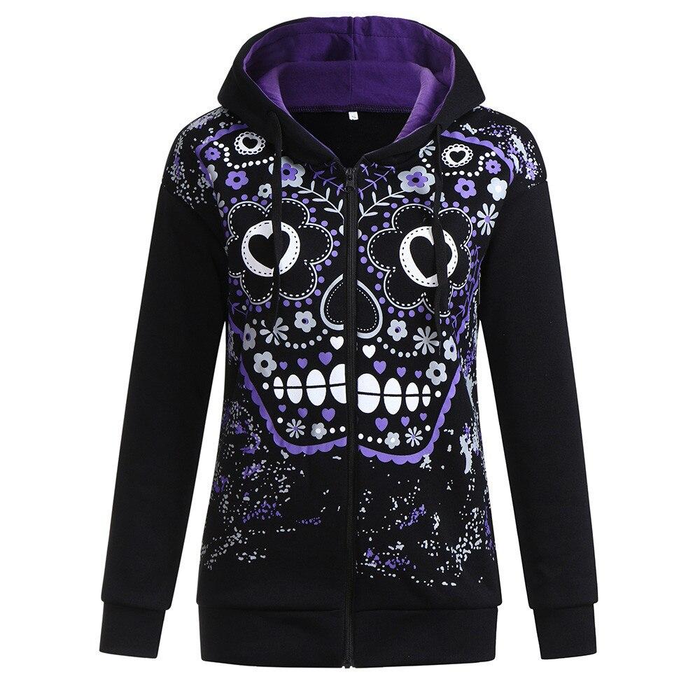 Autumn Winter Hoodies Pullover Women Long Sleeve Sweatshirts Female  Black Skull Print Casual Hoodies Tracksuits Sueter #10T