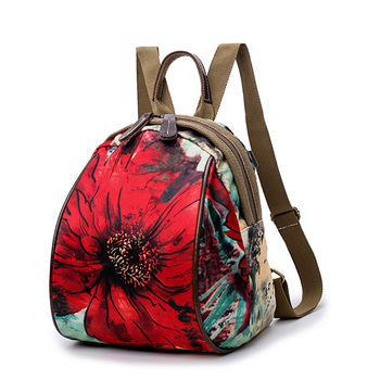Fashion Floral School Girls Bags Women Backpack Small Green Flowers Womens Backpacks Famous Brand Mochilas Female Mom Back Pack