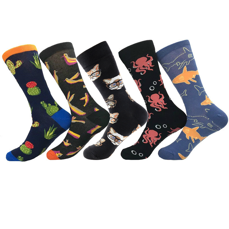 PEONFLY Printing Cartoon Cactus Cute Animals Octopus Penguin Shark Bird Fashion Man   Socks   Happy Funny Casual Cotton   Socks   Autumn