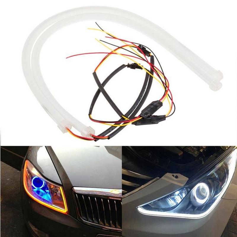 2Pcs Car Styling LED Strip 60cm Flexible Sticker Lights  Angel Eye COB DRL Decorative External Light  Car LED lights Fog Lights