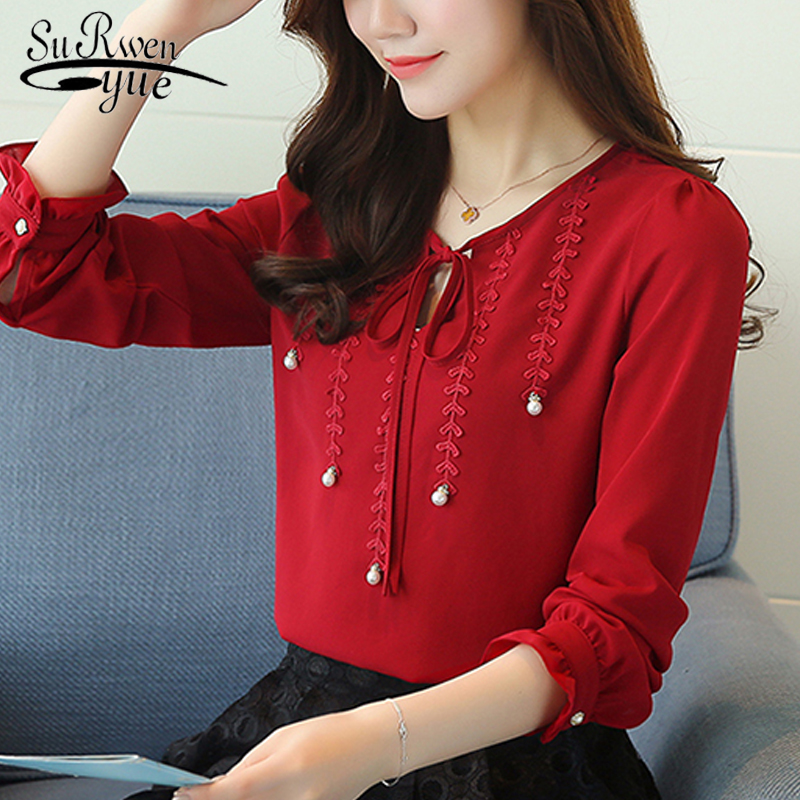 new 2019 fashion chiffon women   shirt     blouse   long sleeves red women's clothing plus size V-neck beading women top blusas 80B 30