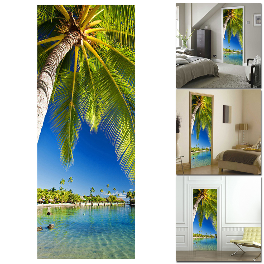 Palm Tree Waterproof Door Sticker Living Room Bathroom Wall Paper  Self Adhesive Imitation 3D Wall Sticker Home Decor