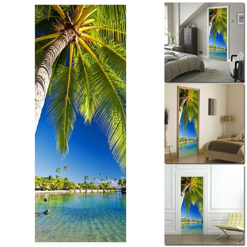 Palm Tree Waterproof Door Sticker Living Room Bathroom Wall Paper  Self Adhesive Imitation 3D Wall Sticker Home Decor
