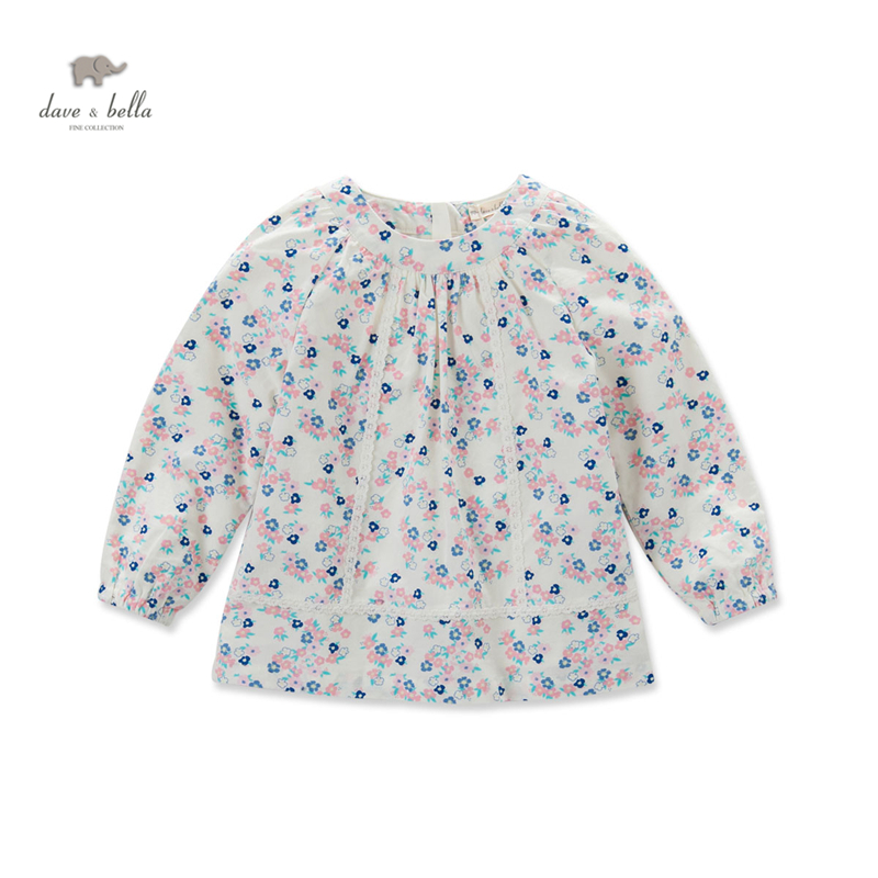 DK0493 dave bella  autumn baby girls  daisy printed blouse girls flower printed t-shirt kid tops girls ethnic t-shirt db3814 dave bella autumn baby boys star printed t shirt kids navy tees bosy tops kids t shirts
