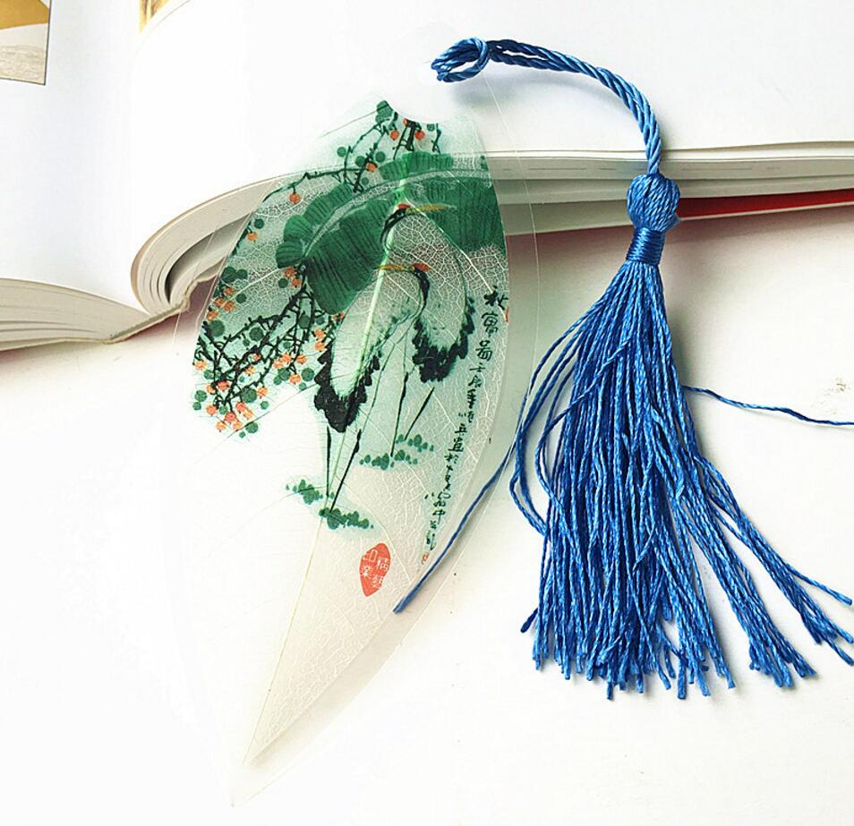 Humorous 20pcs Natural Dried Leaf Veins Grus Japonensis Painted Bookmark Wedding Baby Shower Party Birthday Favor Gift Souvenirs Souvenir Diversified In Packaging Home & Garden Party Favors