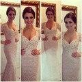 Милая длинным рукавом кружева пром платье с кристаллами кружева русалка вечерние платья длинные вечернее платье Vestido лонго де ренда