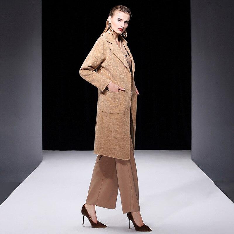 Manteau Face Pardessus marron Plus De Haute Long Femmes 2018 D'hiver Laine Mode Double Coréenne Femelle En La Cachemire L'europe fin Bleu Taille camel ZwgEHWq