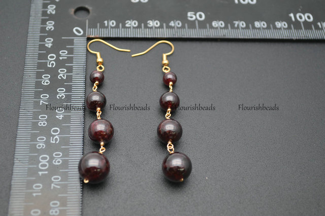 6mm~12mm Graduated Natural Garnet Stone Round Beads Wire Linked Multi Layer Dangle Earrings Fashion Jewelry