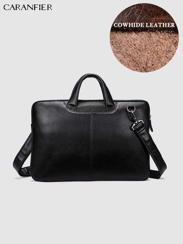 CARANFIER Mens Briefcases ไหล่ Crossbody กระเป๋าหนังวัวแท้กระเป๋าถือคอมพิวเตอร์แล็ปท็อปกระเป๋าเดินทาง-ใน กระเป๋าเอกสาร จาก สัมภาระและกระเป๋า บน   1