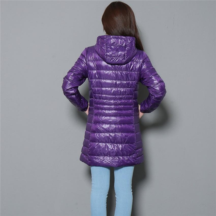 Image 5 - 2018 New Winter Slim Women Midi Long White Duck Down Jacket Big  Size Down Jacket Lady Down Coat Hooded Coats Female Jackets 403Down  Coats