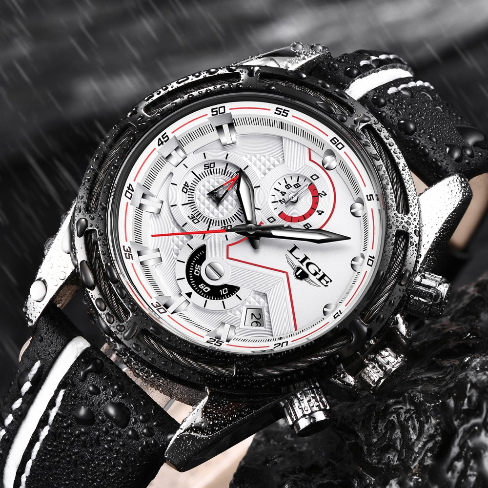 LIGE Sports Casual Mens Watch Business Fashion Top Luxury Brand Watch Military Waterproof Quartz Watches Relogio Masculino+BoxLIGE Sports Casual Mens Watch Business Fashion Top Luxury Brand Watch Military Waterproof Quartz Watches Relogio Masculino+Box