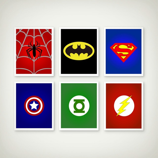 Superman Hero Batman Nursery Wall Art Canvas Prints Painting Cartoon Baby Room Decor Nordic Poster Kids Room Pictures Unframed in Painting Calligraphy from Home Garden