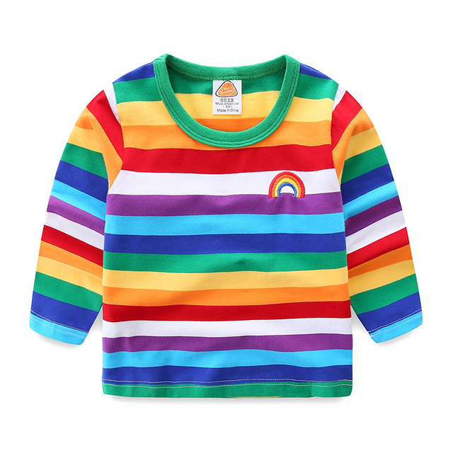 Mudkingdom Little Boys Shirts Girls Rainbow Striped Cotton Kids Long Sleeve Shirts Toddler Tops Colorful Girls