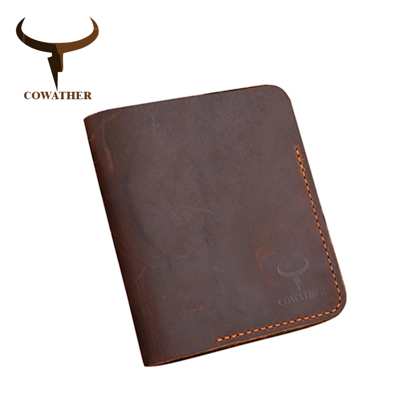 COWATHER top quality Crazy horse leather mens wallet  for men 2019 new design vertical style coffee black purse 114free shipping