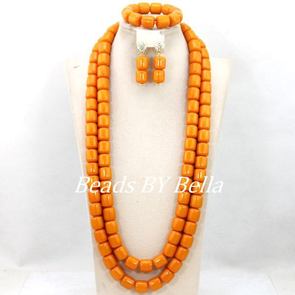Popular Fashion Gold Yellow African Beads Jewelry Set Women Jewelry Set Wedding Beads Bridal Jewelry Set Free Shipping ABY503
