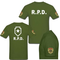 Resident Evil Racoon Police Dept RPD T Shirt Military SWAT T Shirt For Men Short Sleeve Army Tshirt Tee Custom Summer tees