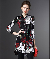 Spring 2016 Ladies Silk Printing Lapel Long Sleeved Restoring Ancient Ways Of Cultivate One S Morality