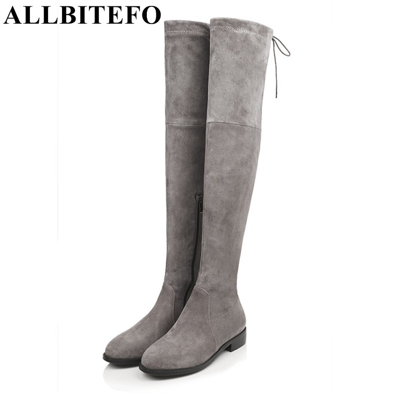 ALLBITEFO Size 34-43 Look slim sexy women boots high quality women's over the knee boots 2016 new winter flat heel gilr boots nasipal 2017 new women pu sexy fashion over the knee boots sexy thin high heel boots platform woman shoes big size 34 43 g804