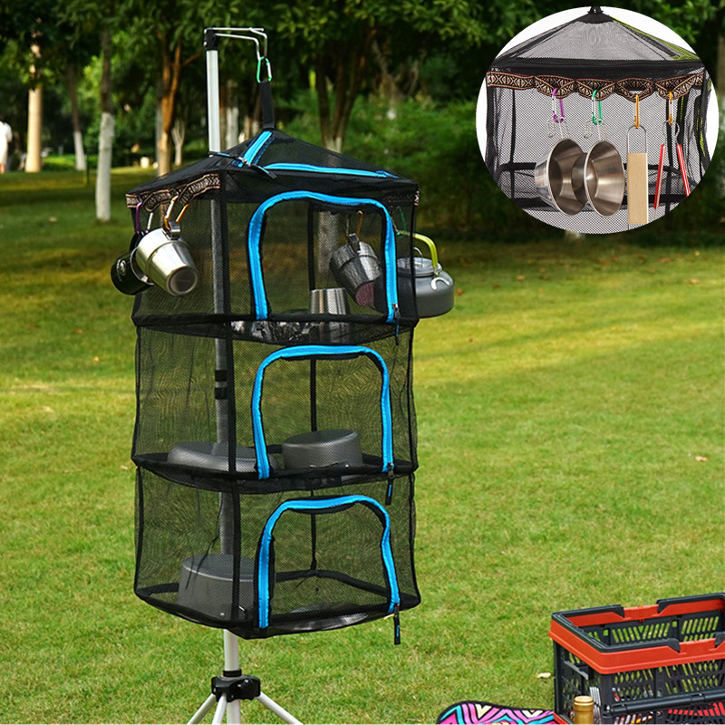 4 Layers Outdoor Folding Square Mesh Food Dryer Hanging Camping Storage Basket With Zippers