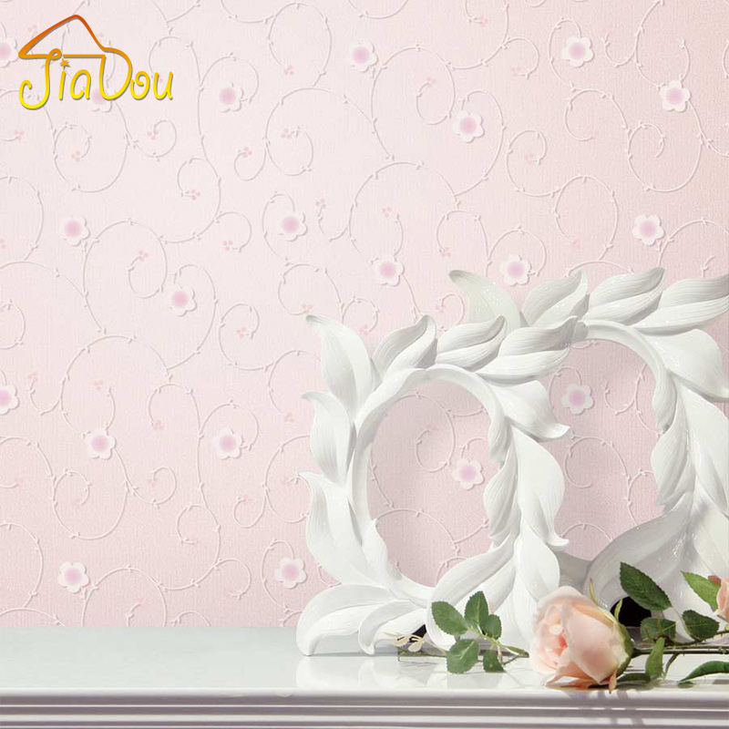 10M Pastoral Pink Floral Wallpaper 3D Foam Embossed Flocking Non-Woven Wall Paper Wedding House Girl Room Mural Wall Covering beibehang non woven pink love printed wallpaper roll striped design wall paper for kid room girls minimalist home decoration