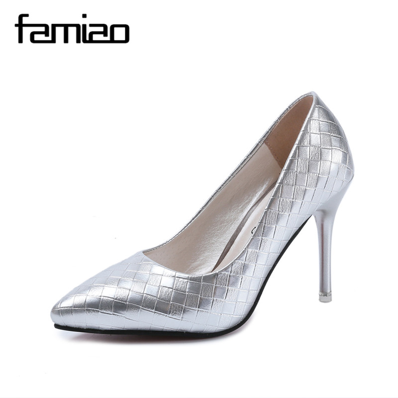 Women Pumps for Party Silver Color 2017 Spring Autumn High Heels Shoes Woman Elegant Office Thin High Heels Pointed Toe Patent high thin heels women shoes pointed toe buckle strap party pumps spring autumn elegant mature pumps shallow mouth women pumps