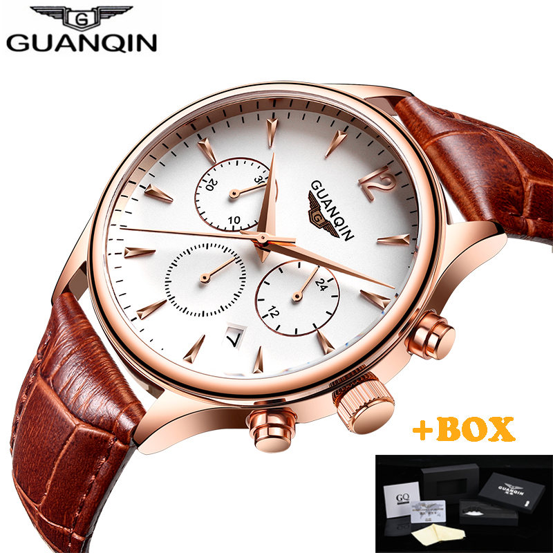 Guanqin Mens Watches Top Brand Luxury 2017 GUANQIN Men business Wristwatch Chronograph Leather Quartz watch Relogio Masculino A