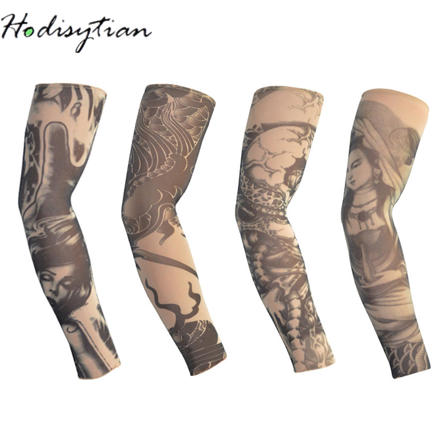 Hodisytian Anti-Sunshine Men/Women Tattoo Sleeve Unisex Arm Leg Outdoor Temporary High Elastic UV Protection Arm Warme Mangas
