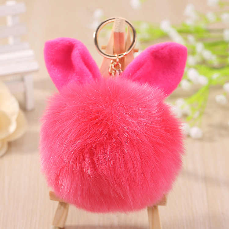 Exknl Car Fluffy Faux Rabbit Ear Fur Ball Key Chain Holder Pompom Artificial Rabbit Fur Keychain Women Car HandBag Keyring