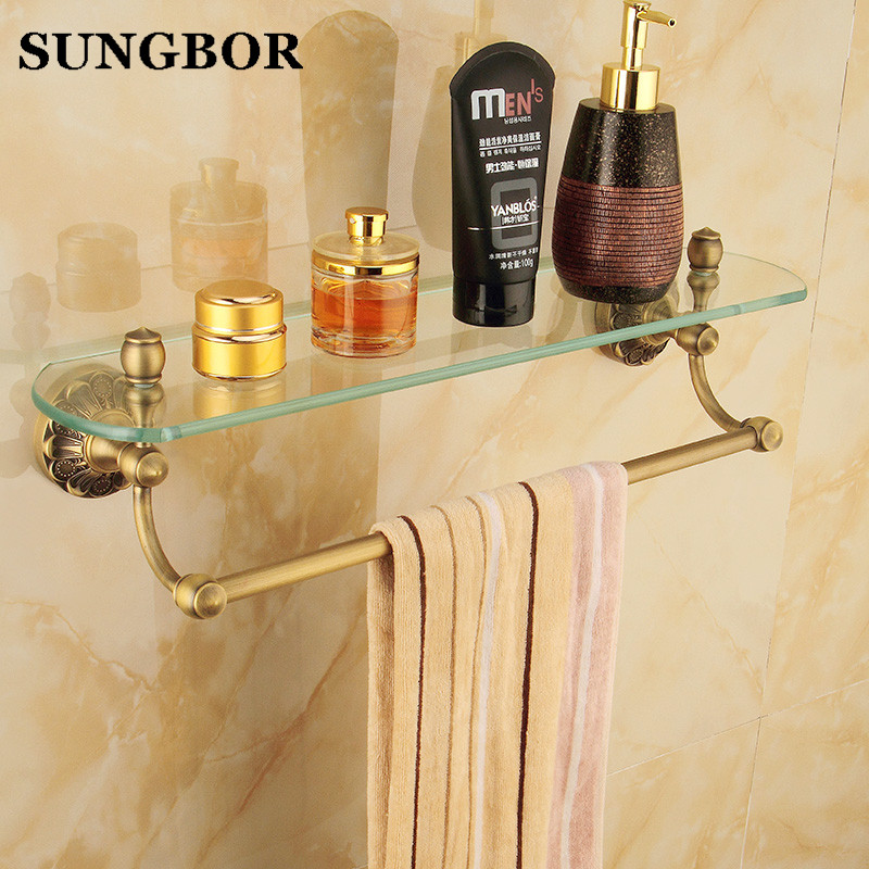 New Antique Brass Bathroom Single-Tier Bathroom Glass Storage Rack Wall Mount Bathroom Shelf with Towel Bar ZL-8713F whole brass blackend antique ceramic bath towel rack bathroom towel shelf bathroom towel holder antique black double towel shelf