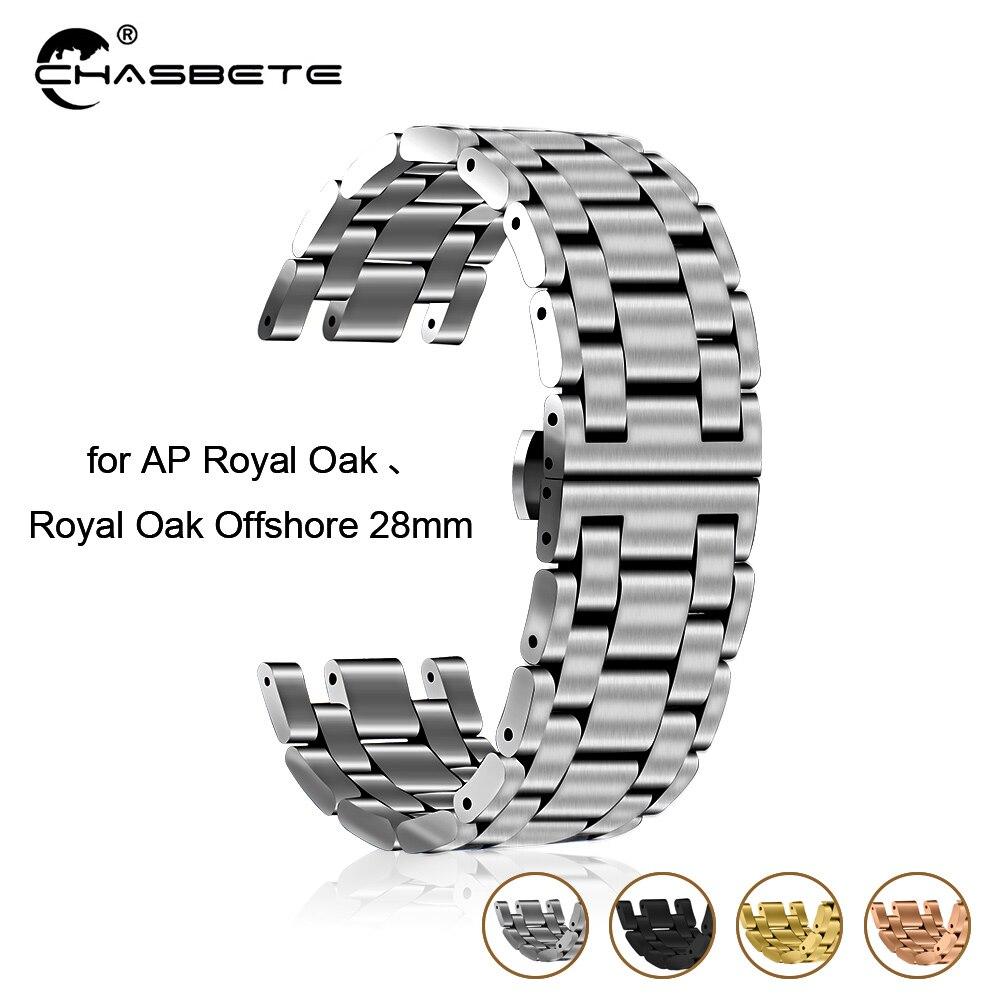 Bracelet de montre en acier inoxydable 28mm pour AP Audemars Piguet chêne Royal fermoir papillon Bracelet boucle poignet ceinture Bracelet argent + outil