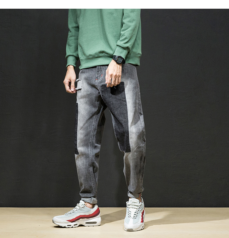 KSTUN Jeans Men Japan Harem Pants Ripped Patched Hip hop Joggers Distressed Biker Jeans Grey Stretch Casual Denim Trousers Boys 12