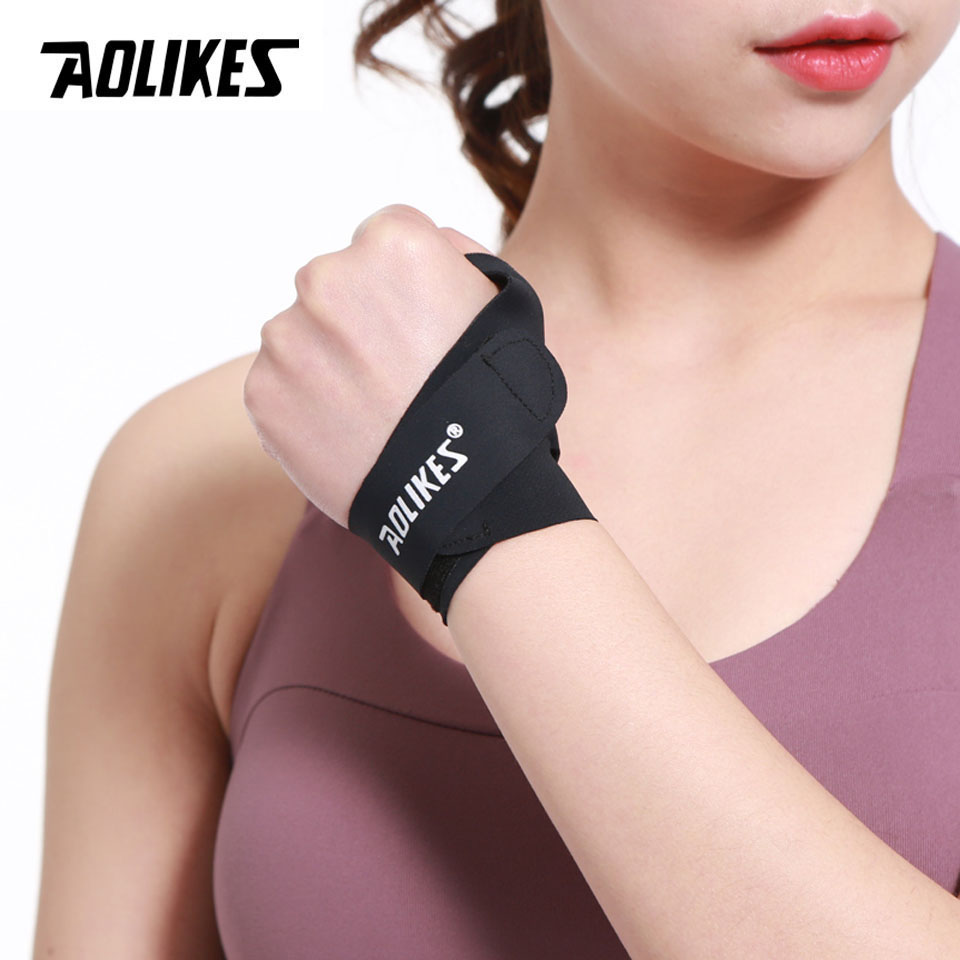 Aolikes 1 Uds. Protector de muñeca Deporte Fitness pulgar muñequera soporte Brace muñequera negra levantamiento de pesas gimnasio entrenamiento