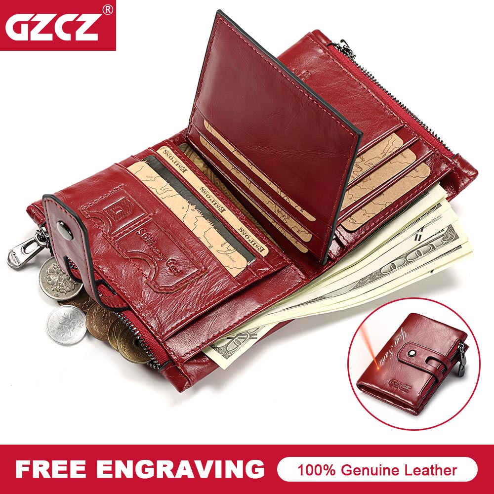 купить GZCZ Women Wallet Mini Zipper Money Bag Genuine Leather Female Small Wallets Lady Vallet Coin Purse Card Holder Perse Portomonee по цене 941.77 рублей