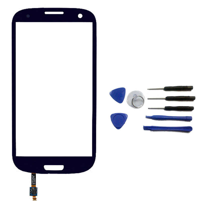 Black color Outer glass front Lens with adhesive for Samsung Galaxy S3 i9300 + Keypad flex cable + Open Tools Free shipping