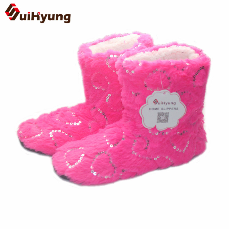 Suihyung Glitter Sequins Heart Women Winter Home Slippers Coral Velvet Indoor Cotton Shoes Botas Female Bedroom Floor Slippers suihyung new winter warm women home slippers plush indoor shoes funny bear pattern cotton padded shoes house bedroom floor shoes